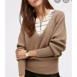 Free People Sweater Ribbed Brown Size Extra Small
